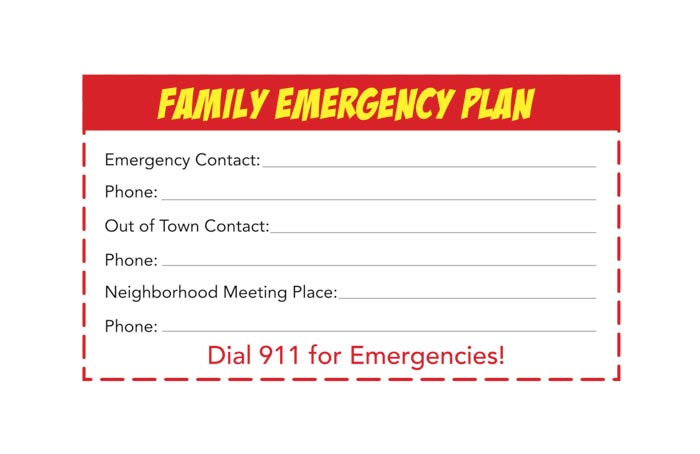 Family Emergency Plan Card
