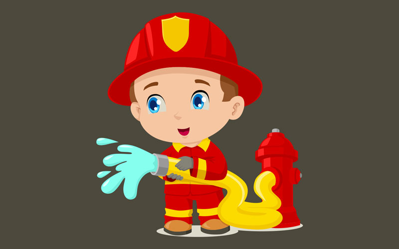 kids corner fireman illustration