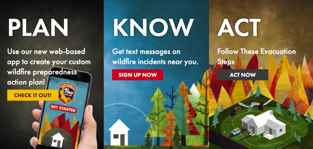 ready for wildfire plan know act graphic