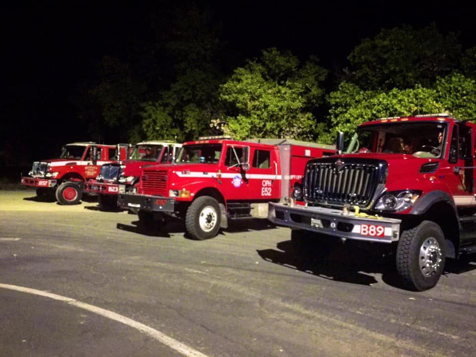 four fire trucks