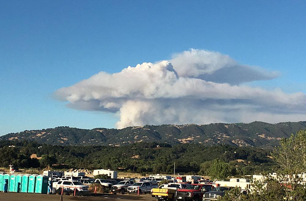 Smoke from Wildfire Strike Team Response